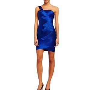 BCBG Max Azria blue one shoulder bandage dress